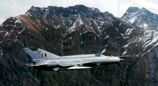 A MiG-21 flying over the Himalayan range!